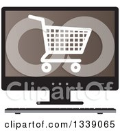 Clipart Of A Shopping Cart Checkout Icon On A Brown Desktop Computer Screen Royalty Free Vector Illustration by ColorMagic