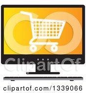 Clipart Of A Shopping Cart Checkout Icon On An Orange Desktop Computer Screen Royalty Free Vector Illustration by ColorMagic