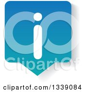 Clipart Of A Letter I Information And Blue Speech Balloon App Icon Design Element With A Shadow Royalty Free Vector Illustration