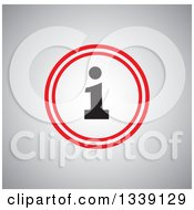 Clipart Of A Black And Red Round Letter I Information App Icon Design Element Over Shading Royalty Free Vector Illustration