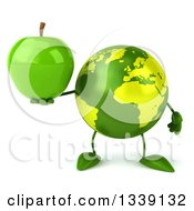 Clipart Of A 3d Green Earth Character Holding A Green Apple Royalty Free Illustration