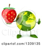 Clipart Of A 3d Green Earth Character Giving A Thumb Up And Holding A Strawberry Royalty Free Illustration