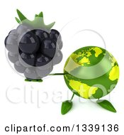 Clipart Of A 3d Green Earth Character Holding Up A Blackberry Royalty Free Illustration