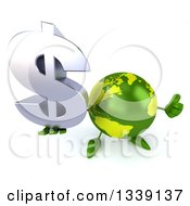 Clipart Of A 3d Green Earth Character Holding Up A Thumb And A Dollar Currency Symbol Royalty Free Illustration by Julos