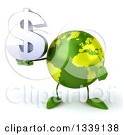 Clipart Of A 3d Green Earth Character Holding And Pointing To A Dollar Currency Symbol Royalty Free Illustration