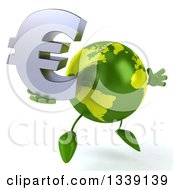 Clipart Of A 3d Green Earth Character Holding A Euro Currency Symbol Facing Slightly Right And Jumping Royalty Free Illustration