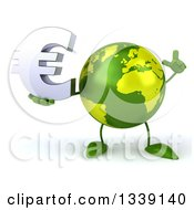 Clipart Of A 3d Green Earth Character Holding Up A Finger And A Euro Currency Symbol Royalty Free Illustration