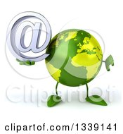 Clipart Of A 3d Green Earth Character Giving A Thumb Down And Holding An Email Arobase At Symbol Royalty Free Illustration
