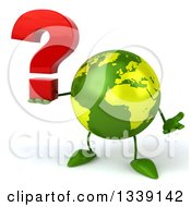 Clipart Of A 3d Green Earth Character Shrugging And Holding A Question Mark Royalty Free Illustration