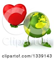 Clipart Of A 3d Green Earth Character Holding And Pointing To A Red Love Heart Royalty Free Illustration