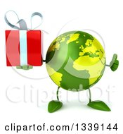 Clipart Of A 3d Green Earth Character Giving A Thumb Up And Holding A Gift Royalty Free Illustration by Julos