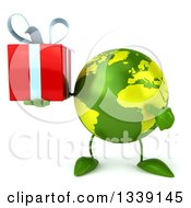 Clipart Of A 3d Green Earth Character Holding And Pointing To A Gift Royalty Free Illustration