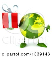 Clipart Of A 3d Green Earth Character Giving A Thumb Down And Holding A Gift Royalty Free Illustration