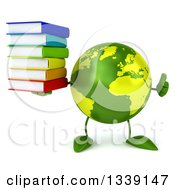 Clipart Of A 3d Green Earth Character Giving A Thumb Up And Holding A Stack Of Books Royalty Free Illustration