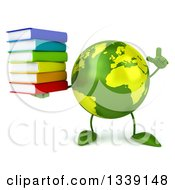 Clipart Of A 3d Green Earth Character Holding Up A Finger And A Stack Of Books Royalty Free Illustration