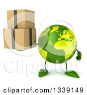 Clipart Of A 3d Green Earth Character Holding Boxes Royalty Free Illustration by Julos