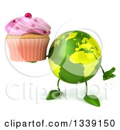 Clipart Of A 3d Green Earth Character Shrugging Holding A Pink Frosted Cupcake Royalty Free Illustration
