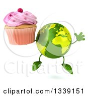 Clipart Of A 3d Green Earth Character Jumping And Holding A Pink Frosted Cupcake Royalty Free Illustration