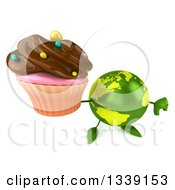 Clipart Of A 3d Green Earth Character Holding Up A Thumb Down And A Chocolate Frosted Cupcake Royalty Free Illustration