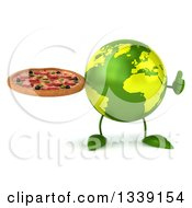 Clipart Of A 3d Green Earth Character Giving A Thumb Up And Holding A Pizza Royalty Free Illustration