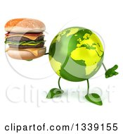 Clipart Of A 3d Green Earth Character Shrugging And Holding A Double Cheeseburger Royalty Free Illustration