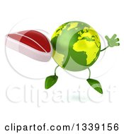 Clipart Of A 3d Green Earth Character Jumping And Holding A Beef Steak Royalty Free Illustration