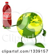 Clipart Of A 3d Green Earth Character Holding A Soda Bottle Royalty Free Illustration