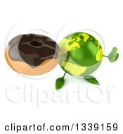 Clipart Of A 3d Green Earth Character Holding Up A Thumb And A Chocolate Glazed Donut Royalty Free Illustration