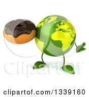 Clipart Of A 3d Green Earth Character Shrugging And Holding A Chocolate Glazed Donut Royalty Free Illustration