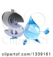 Clipart Of A 3d Water Drop Character Holding Up A Dollar Currency Symbol And A Thumb Royalty Free Illustration