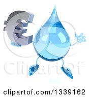 Clipart Of A 3d Water Drop Character Jumping And Holding A Euro Currency Symbol Royalty Free Illustration