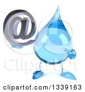Clipart Of A 3d Water Drop Character Holding And Pointing To An Email Arobase At Symbol Royalty Free Illustration