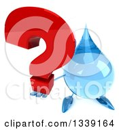 Clipart Of A 3d Water Drop Character Holding Up A Question Mark Royalty Free Illustration