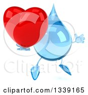 Clipart Of A 3d Water Drop Character Facing Slightly Right Jumping And Holding A Red Love Heart Royalty Free Illustration