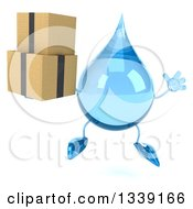 Clipart Of A 3d Water Drop Character Jumping And Holding Boxes Royalty Free Illustration