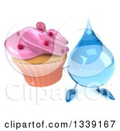 Clipart Of A 3d Water Drop Character Holding Up A Pink Frosted Cupcake Royalty Free Illustration