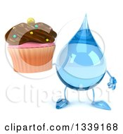 Clipart Of A 3d Water Drop Character Holding A Chocolate Frosted Cupcake Royalty Free Illustration