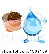 Clipart Of A 3d Water Drop Character Holding Up A Finger And A Chocolate Frosted Cupcake Royalty Free Illustration