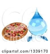 Clipart Of A 3d Water Drop Character Holding Up A Pizza Royalty Free Illustration