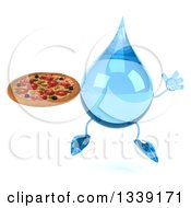 Clipart Of A 3d Water Drop Character Holding A Pizza And Jumping Royalty Free Illustration
