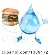 Clipart Of A 3d Water Drop Character Jumping And Holding A Double Cheeseburger Royalty Free Illustration