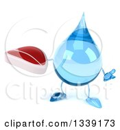 Clipart Of A 3d Water Drop Character Shrugging And Holding A Beef Steak Royalty Free Illustration by Julos