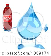 Clipart Of A 3d Water Drop Character Giving A Thumb Up And Holding A Soda Bottle Royalty Free Illustration