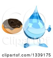 Clipart Of A 3d Water Drop Character Giving A Thumb Up And Holding A Chocolate Glazed Donut Royalty Free Illustration
