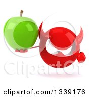 Clipart Of A 3d Red Devil Head Holding And Pointing To A Green Apple Royalty Free Illustration