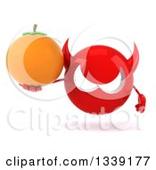 Clipart Of A 3d Red Devil Head Holding A Navel Orange Royalty Free Illustration