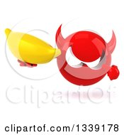 Clipart Of A 3d Red Devil Head Holding And Pointing To A Banana Royalty Free Illustration