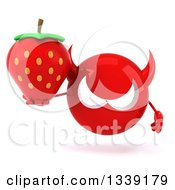 Clipart Of A 3d Red Devil Head Holding A Strawberry Royalty Free Illustration