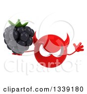 Clipart Of A 3d Red Devil Head Holding A Blackberry And Jumping Royalty Free Illustration