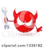 Clipart Of A 3d Red Devil Head Shrugging And Holding A Wrench Royalty Free Illustration